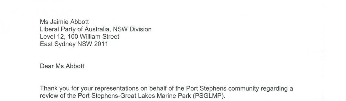The Letter from the Minister re: Port Stephens Great Lakes Marine Park