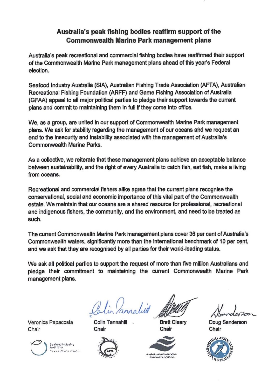 Joint Industry Letter to Tony Burke re: Commonwealth Marine Park Management Plan Changes